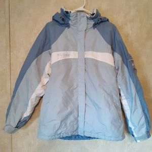 Columbia blue and white hooded coat size XL